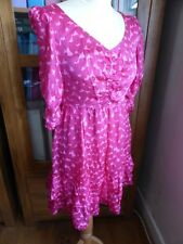 BNWT Juicy Couture pink heart print silk tea dress US 4 UK 8 10 NEW cute Barbie