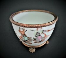 Antique Chinese Porcelain  Bowl with Bronze Mounts
