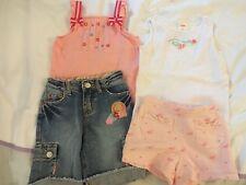 GYMBOREE Pink Floral Bow 4pcs Lot Girls Outfit Set Sz 5 Top Summer Jean Girl
