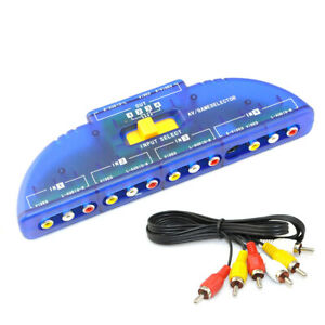 4 Way 4 Input 1Out Audio Video AV Signal Switcher TV Selector Splitter RCA Cable
