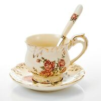 """Porcelain Cup and Saucer Set 8.5 Ounce, 4.5"""" Teacup, 6"""" Saucer and 6"""" Spoon"""