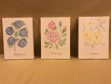 POTTERY BARN KIDS FLORAL PLAQUES - SET OF 3 - SOLID WOOD
