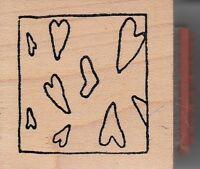 """hearts in a frame Wood Mounted Rubber Stamp 1 1/2 x 1 1/2"""" Free Shipping"""
