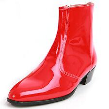 "Men's glossy red side zipper hand made KOREA 1.77"" cuban heels ankle boots"