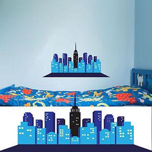 Comic City Skyline Childrens / Kids Sticker Decal ( Superhero Batman Superman)