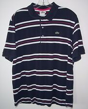 Vintage Lacoste 3 Button Striped Polo Shirt Sz 6 / Med