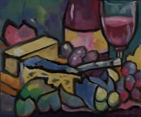 Original Colorful Wine and Cheese Painting Leni Tarleton Outsider Art