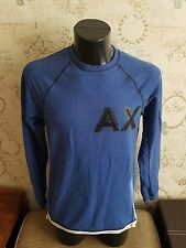 Armani AX  Long Sleeve Crew Neck  SWEATER Men's  Blue Size Large 2015 season