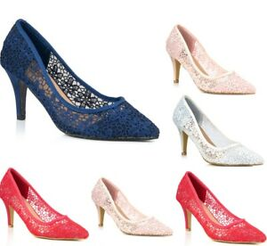 New Ladies Lace Low Kitten Heel Pointed Toe Slip On Court Shoes Wedding Evening