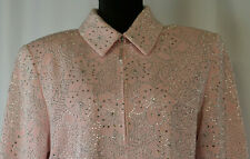 St John Couture Sz 10 Zip Pink Santana Knit Blazer Shiny Studs Rhinestone Flower