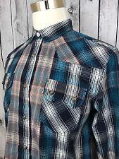 Levi's Multi Color Plaid Western Pearl Snap Standard Fit Men's Shirt Size M