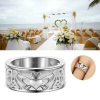 Irish Claddagh Celtic Silver Care Heart Forever Wedding Bridal SIZE6-10 v R C6I5