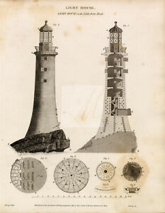 VINTAGE Print of the Light House on the Eddystone Rock - 1800s #G384
