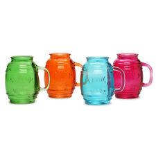 Wedding Gift - 26 Ounce Glass Beer Barrel Mug, Set of 4 Cool Mugs in Fun Colors
