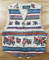 Vintage Liz Wear Petite Women's Tapestry Floral Vest Size Small