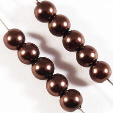 100 perles Nacrées 4mm Marron verre de Bohème