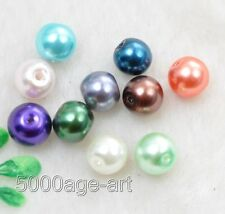 wholesale 100 pcs mixed color Round Glass Pearl charm Loose spacer beads 8mm