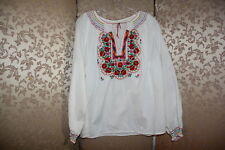 Hungarian Floral Embroidered Tunic Boho Smocked Blouse Peasant Top S M L XL 1X