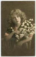 1910s Children Child Cute GIRL w/ FLOWERS British Photogravure photo postcard