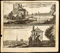 1661 - Quai Conti, Louvres et Notre-Dame de Paris - Gravure ancienne