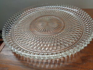 "Vintage 12"" Indiana Glass Crystal Diamond Point Hostess Plate"