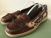 Women's Sperry Top-Siders Leather Loafers w/ Animal print style 9104514 Sz 7.5