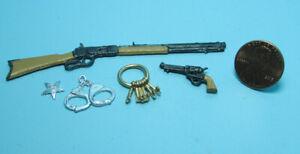 Dollhouse Miniature Sheriff Set Rifle Gun Badge Handcuffs and Keys ISL5005