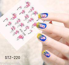 Nail Art Water Decals Wraps Pink Black Summer Flowers Roses Gel Polish (220)