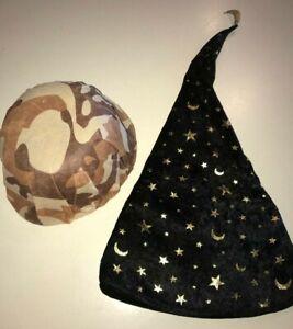 BOYS HALLOWEEN CAMOUFLAGE HAT BROWNS COSTUME WEAR black WIZARD HAT GOLD STARS