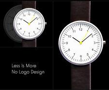 Minimal Bauhaus Style Japan Quartz Movement Simple Alloy Brown Band Wrist Watch