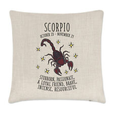 Scorpio Horoscope Linen Cushion Cover Pillow - Horoscope Star Sign Zodiac