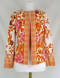 Peck & Peck Small Orange White Floral Print BoHo Blazer Jacket Lined No Buttons