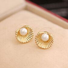 1 Pair Women Gril Ear Stud Pearl in Shell Earrings Charming Jewelry