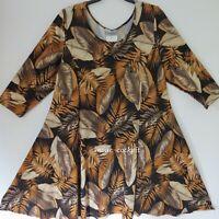 MAGNA Tunika Kleid 3/4 Arm+super A-Linie *Blätter* schwarz-safran 48-50 (4)