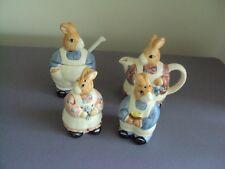 Vintage Otagiri Bunny Rabbit Sugar Bowl Creamer Salt Pepper Japan Hand Painted