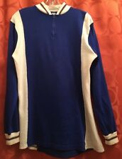M L Vintage 70s FRENCH Arc En Ciel CYCLING JERSEY Long Sleeve BLUE Vegan Acrylic