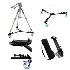 Universal Folding Tripod Dolly 3  Wheels for Camera Video PhotoTripod Stand Case