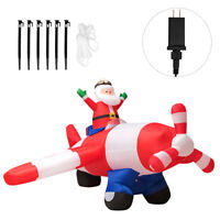 8Ft LED Inflatable Christmas Santa Claus Flying Airplane Blow-Up Yard Play