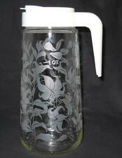 Anchor Hocking Tang Drink Mix Glass Pitcher W Etched Frosted Lillies Plastic Lid