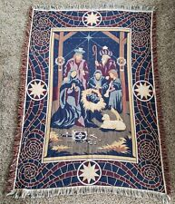 Vintage Nativity Christmas Tapestry Throw Blanket Goodwin Weavers 100% Cotton
