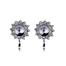 18K WHITE GOLD PLATED GENUINE AUSTRIAN CRYSTAL AND GREY PEARL CLIP-ON  EARRINGS