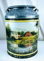 Vintage Houston Harvest Dairy Metal Milk Can Popcorn Tin Cow Farm Country rustic