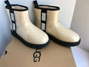 New Ugg Waterproof Classic Clear Mini Winter Ankle Boots Wool White Cream Sz 8