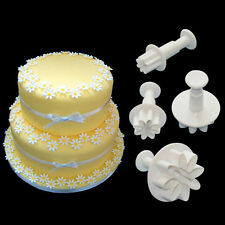 4pcs/set Flower Icing Cutter Fondant Cake Sugarcraft Decorating Plunger Mould