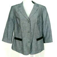 Tahari Woman Blazer Sz 14W Linen Cotton Jacket Black White Gray Fleck
