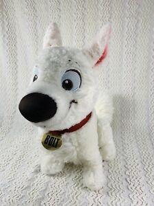 "Disney Parks Plush Bolt Dog Sitting 10"" With Collar & Tag"