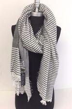 Mens Winter Blanket Long Scarf Black / White Striped Tassel Shawl Wrap Pashmina