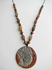 Flower Carved Picasso Jasper Gemstone Pendant  Necklace