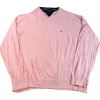 VINTAGE Tommy Hilfiger Mens Knitted Jumper 2XL Pink Embroidered Logo Pullover