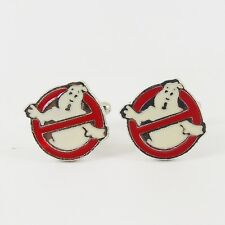 GHOSTBUSTERS LOGO CUFFLINKS 80s eighties kitsch vintage ghost bill murray 80s